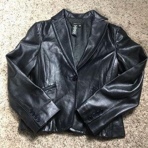 BCBG Maxazaria Black Leather Jacket Blazer Size XS